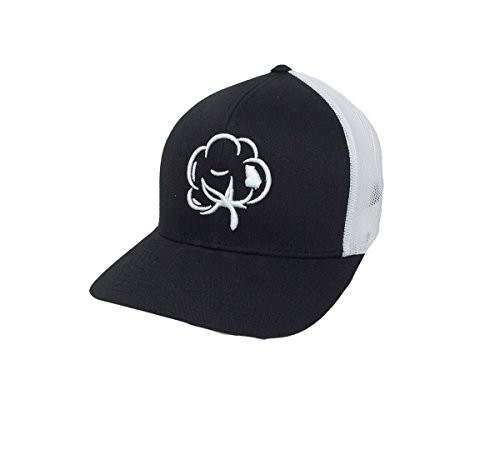 Heritage Pride Georgia State Pride Cotton Boll Trucker Hat Black White Mesh