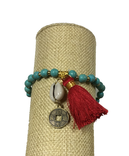 Bali Queen Turquoise and Red Shell Coin Bracelet