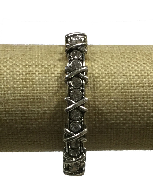 Arm Candy Silver Xs and Os Stretch Bangle Bracelet