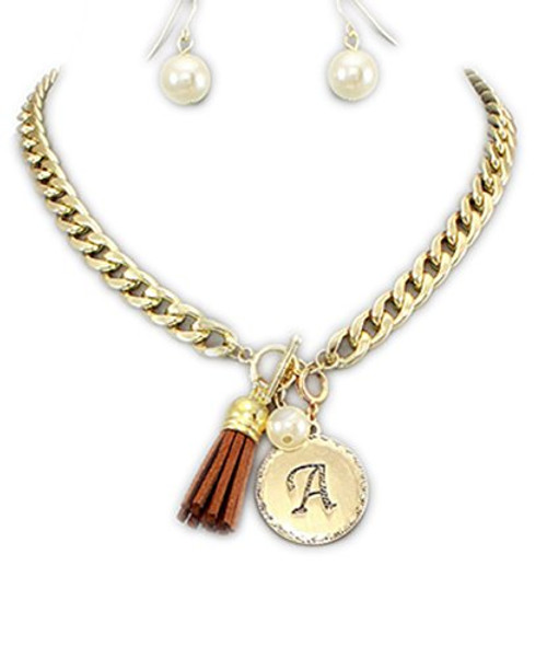Women's Gold Front Toggle Initial Necklace and Earring Set with Brown Suede Tassle A