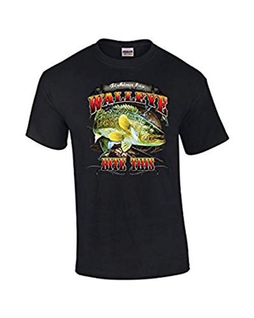 Fishing Tee Shirt Walleye Bite This Black