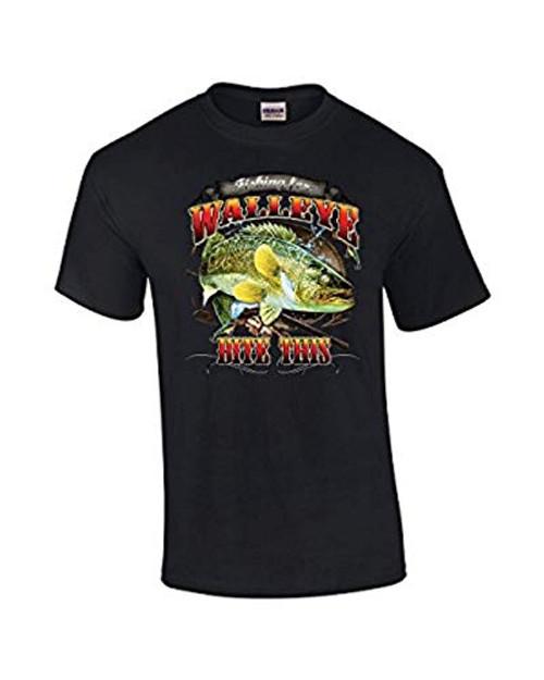 Fishing Tee Shirt Walleye Bite This Black