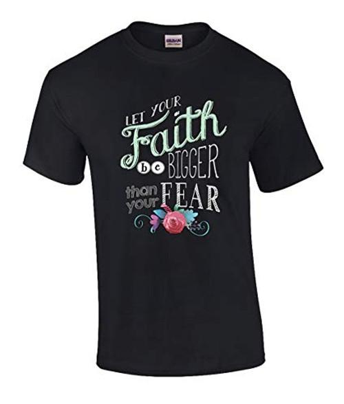 Eternal Life Christian Faith Bigger Than Fear Graphic Tee Shirt Black
