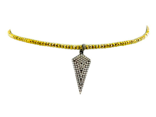 Betsy Pittard Designs Alaina Choker with Crystal Studded Drop-Gold