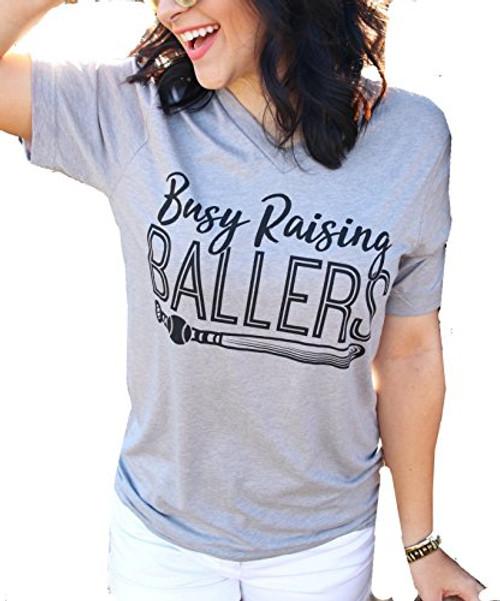 ATX Mafia, LLC Busy Raising Ballers V Neck Triblend Short Sleeve T-Shirt-Athletic Grey-Large