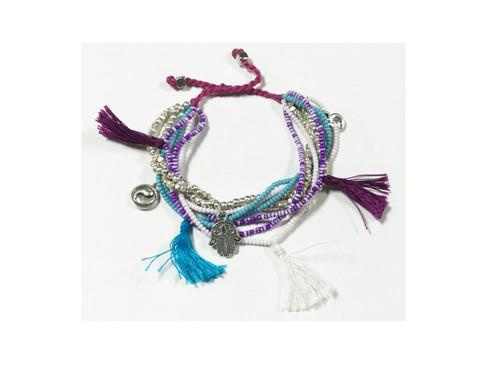 Bali Queen Purple and Turquoise Pom Pom Tassle Bracelet