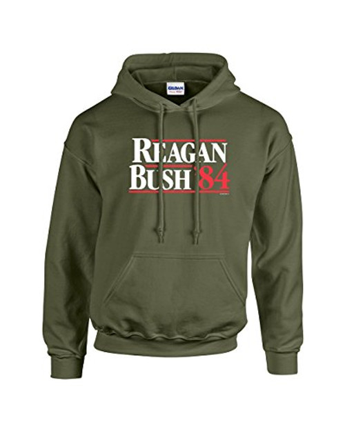Ronald Reagan Bush '84 1984 Political Presidential Campaign Men's Hooded Sweatshirt Hoodie