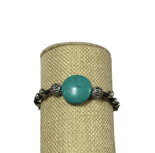 Bali Queen Wax Linen Turquoise and Alloy Toggle Bracelet
