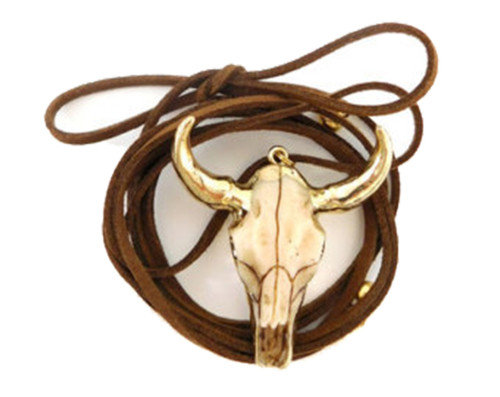 Betsy Pittard Designs Audrina Steer Head Wrap Lariat Necklace-Brown