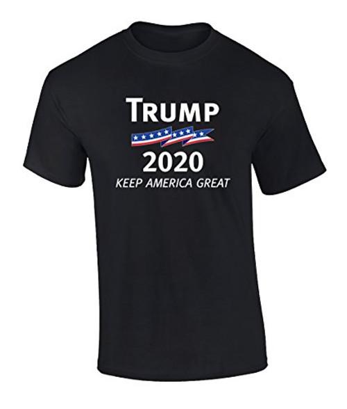 Political Patriotic Trump 2020 Keep America Great Tee Shirt Black