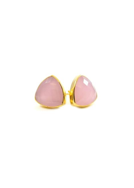 Betsy Pittard Designs Marissa Stud Earrings-Pink Chalcedony