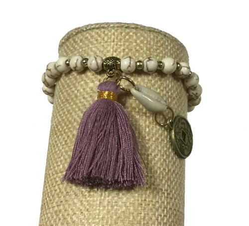Bali Queen White and Purple Shell Coin Bracelet
