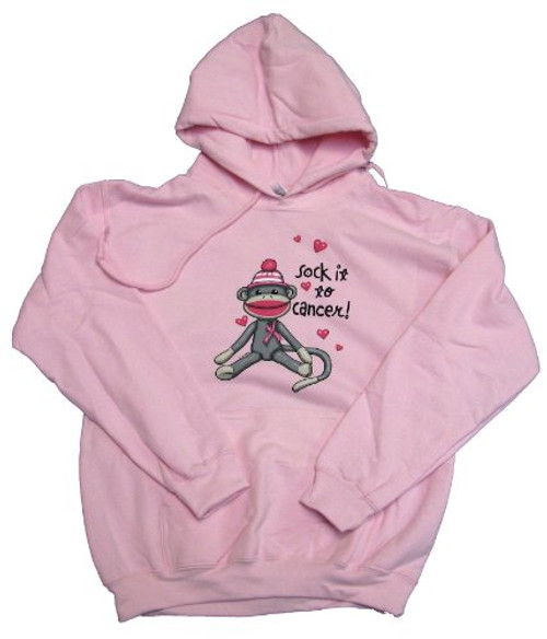 Trenz Shirt Company Sock It to Cancer Breast Cancer Awareness Adult Hoodie Light Pink