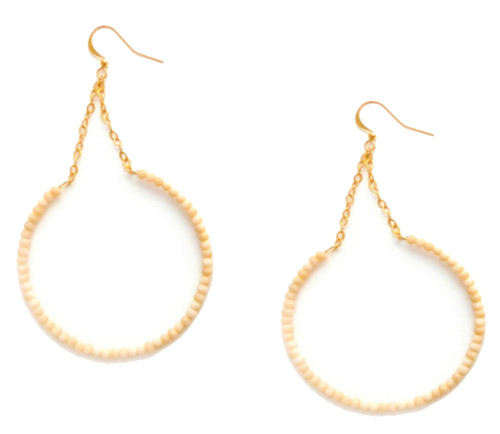 Betsy Pittard Designs Griffin Matte Cream Dangle Hoop Earrings