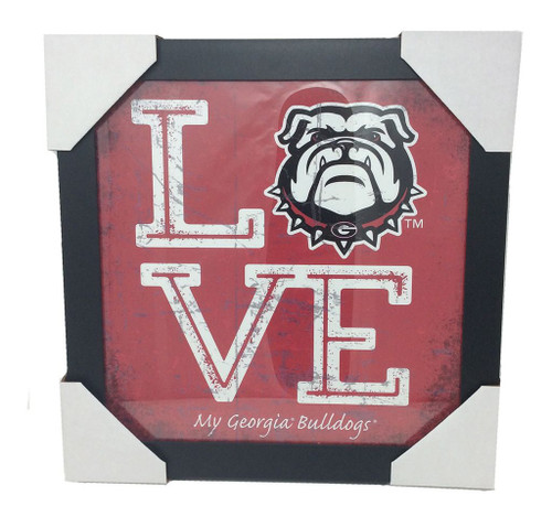 Prints Charming Love My Georgia Bulldogs Glass Frame Red