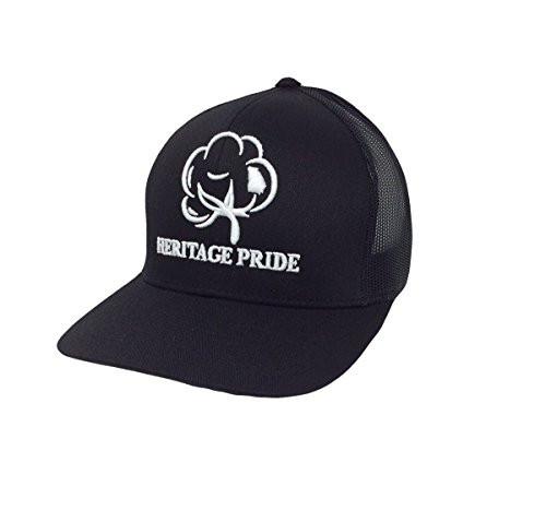 Heritage Pride Logo Georgia State Cotton Boll Southern Men's Trucker Hat Black Black Mesh