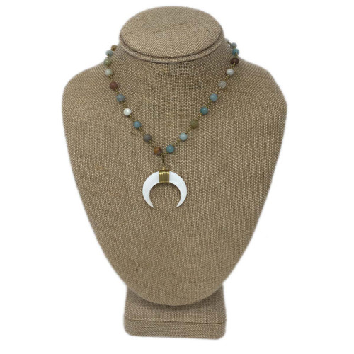 Raw & Rebellious Daily Delight Bone Crescent Necklace, Light Mixed Neutrals