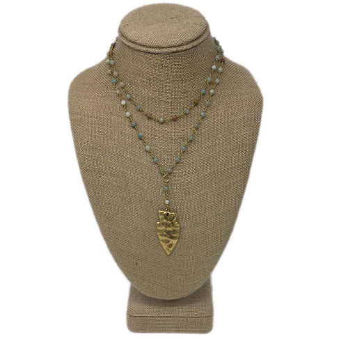 Raw & Rebellious Less is More Beaded Arrowhead Double Layer Lariat, Light Mixed Neutrals