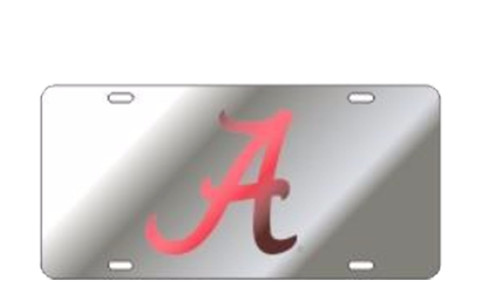 Craftique Alabama Crimson Tide Laser Cut Scripted A Mirrored Car Tag-Silver/Crimson