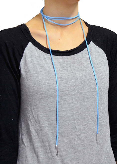 From the Heart Light Blue Suede Long Wrap Choker Necklace