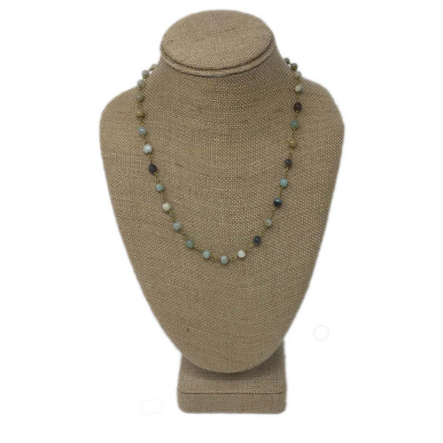 Raw & Rebellious The Final Touch Beaded 19 Inch Necklace with Rosary Beads, Light Mixed Neutrals