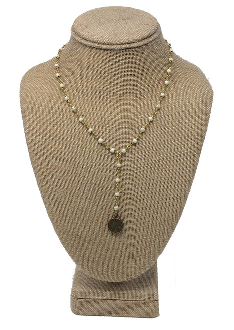 Raw and Rebellious 16 Inch Never Let Go Lariat Coin Drop Necklace, Cream