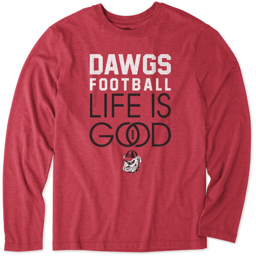 Life Is Good Mens Georgia Infinity Football Long Sleeve T-shirt