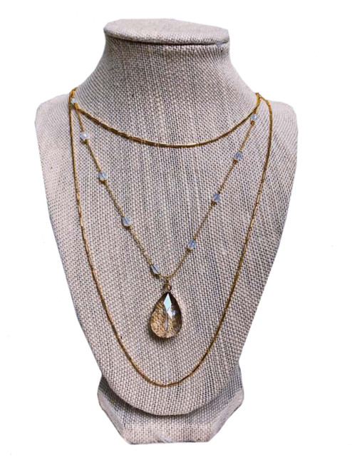 Raw & Rebellious Pay Day Triple Layer Crystal Necklace, Gold