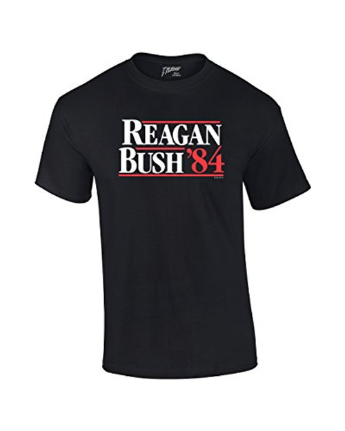 Reagan Bush 1984 Presidential Campaign Political Design Men's Short Sleeve T-shirt President Retro 80's Condervative Republican