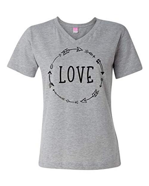 Love Arrow Black Valentine's Day Women's Vee Neck Short Sleeve Tee Shirt Heather