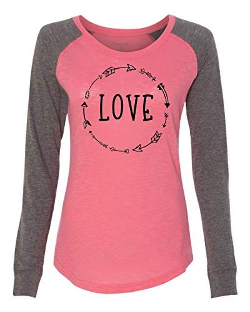 Love Arrow Black Valentine's Day Women's Patch Raglan Long Sleeve Tee Shirt Coral/Granite