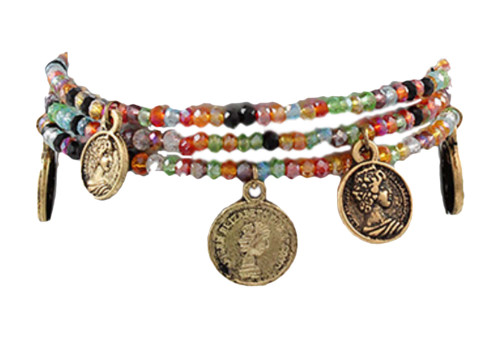 Jewelry by TSC Antique Coin And Bead Bracelet, Multi and Gold