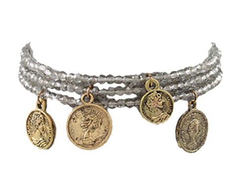 Jewelry by TSC Antique Coin And Bead Bracelet, Light Gray and Gold
