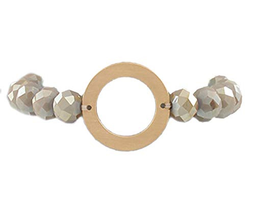 Jewelry by TSC Circle Charm Bead Bracelet, Taupe and Gold