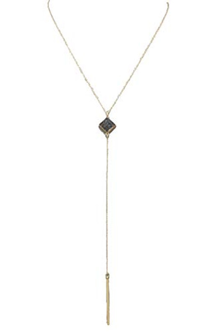 Jewelry by TSC Druzy Square And Bar Necklace, Hematite and Gold