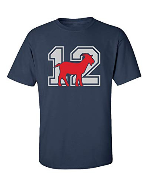 Patriots #12 Goat Adult Unisex Short Sleeve Tee Shirt Navy