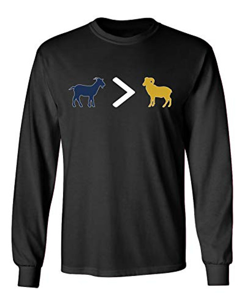 Patriots Goat is Greater Than Ram Adult Long Sleeve Shirt Black