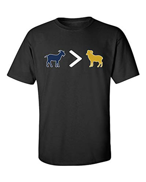 Patriots Goat is Greater Than Ram Adult Short Sleeve Tee Shirt Black