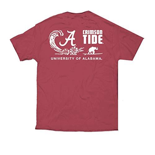Campus Collection Alabama Elephant Surfboard Unisex Short Sleeve Pocket Tee Shirt Crimson