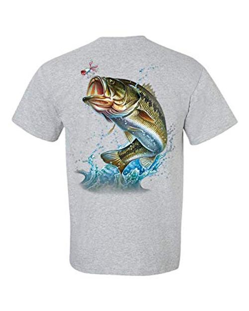 Fishing Action Bass Adult Short Sleeve Tee Shirt Sports Gray