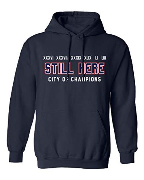Patriots Still Here City of Champions Adult Hooded Pullover Navy