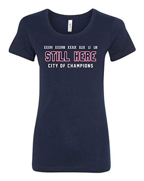 Patriots Still Here City of Champions Ladies Tee Navy