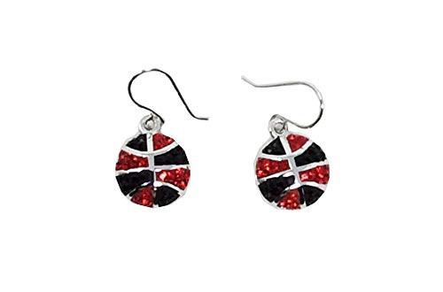 Chelsea Taylor Red & Black Brass Basketball Earrings