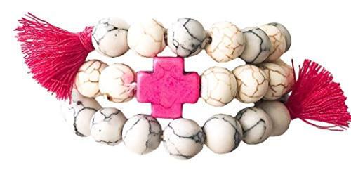 Heart On Your Sleeve Hot Pink Ivory Cross Bracelets Tassels