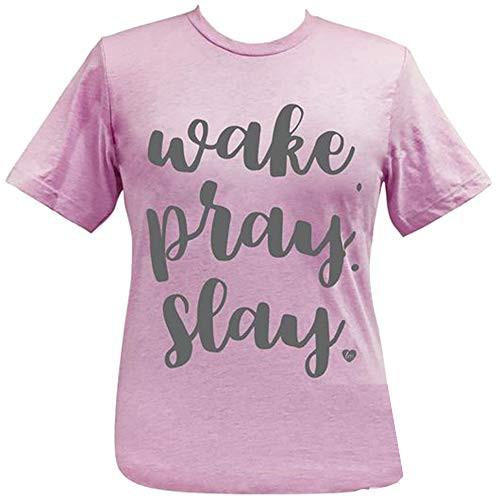 Girlie Girl Originals Lulu Mac Collection Wake Pray Slay Short Sleeve Tee Shirt Heather Prism