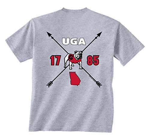 New World Graphics UGA Ladies Arrow Short Sleeve Tee Shirt Sport Grey