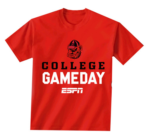 New World Graphics UGA ESPN Bulldog Head 19 Short Sleeve T-shirt-Red
