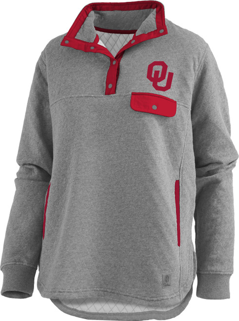 Pressbox Women's NCAA Oklahoma Sooners Magnum Quilted Henley Pullover