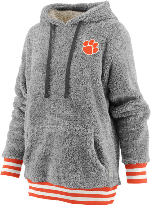 Pressbox Women's NCAA Clemson Tigers Kandi Long Sleeve Shaggy Hooded Pullover