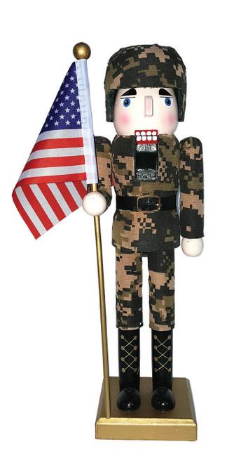 "Santa's Workshop 14"" Army Nutcracker With Flag"